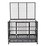 walnest Dog Cage Crate Kennel Heavy Duty Double Door Pet Cage with Metal Tray Wheels Exercise Playpen (48', Sliver)
