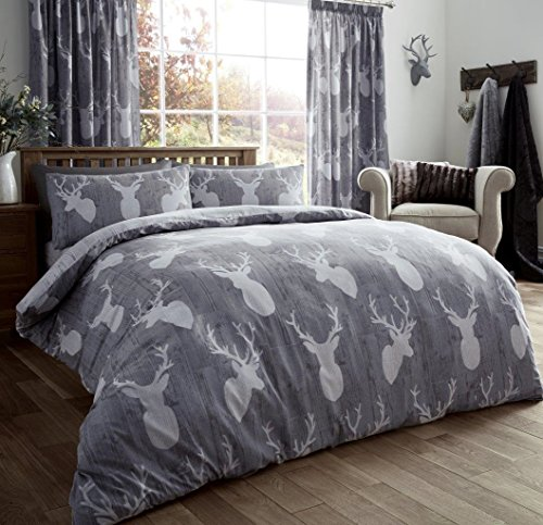 Gaveno Cavailia Luxury STAGS Bed Set with Duvet Cover and Pillow Case, Polyester-Cotton, Grey, King