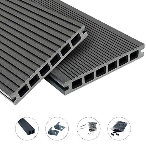 WPC Terrassendielen Top Line Dielen - Komplett-Set Hellgrau | 18 m² (3m x 6m) Holz-Brett Dielen | Boden-Fliesen + Unterkonstruktion & Clips | Balkon Boden-Belag + rutschfest + witterungsbeständig