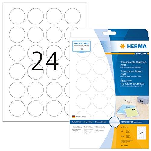 HERMA 4686 Wetterfeste Folien-Etiketten DIN A4 transparent (Ø 40 mm, 25 Blatt, Polyesterfolie, matt, rund) selbstklebend, bedruckbar, permanent haftende Klebefolie, 600 Klebeetiketten, durchsichtig