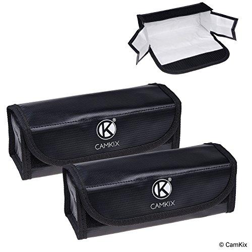 Große Feuerfeste LiPo-Akku-Taschen - 2-er Pack - Sicherheits- und Aufbewahrungstasche - Für sichere Ladung und Transport - 19.5 x 6.5 x 7.5 cm - Ideale Lösung für Flugzeug-Handgepäck