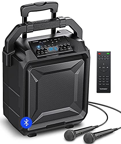 """BOMAKER PA System Portable, 600W Peak Power, 8"""" Woofer Bluetooth Karaoke Speaker, 8 EQ/ECHO, Rich Bass/Treble, Rechargeable Amplified with Microphone/AUX/FM/USB/Wheels/Telescopic Handle Outdoor Indoor"""
