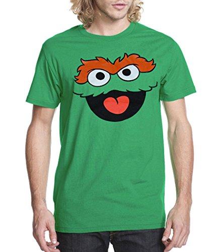 Sesame Street Oscar The Grouch Face Adult T-Shirt-XXX-Large