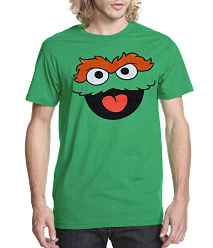 Sesame Street Oscar The Grouch Face Adult T-Shirt-Small