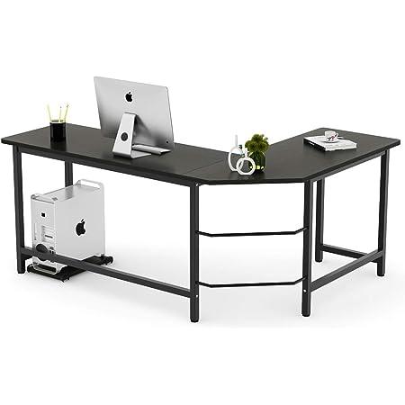 Tribesigns Modern L Shaped Desk Corner Computer Desk Pc Laptop Study Table Workstation Home Office Wood Metal Black Furniture Decor