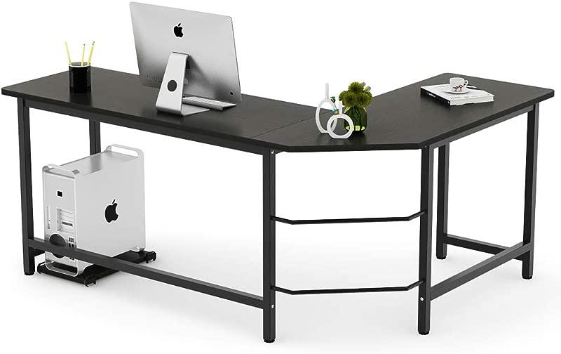 Tribesigns Modern L Shaped Desk Corner Computer Desk PC Laptop Study Table Workstation Home Office Wood Metal Black