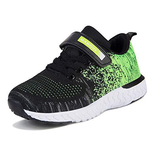 Laufschuhe Kinder Jungen Mädchen Sportschuhe Atmungsaktiv Leicht Turnschuhe Klettverschluss Outdoor Fitnessschuhe Sneakers für Gym Indoor Unisex-Kinder(Grün.YF644,37 EU)