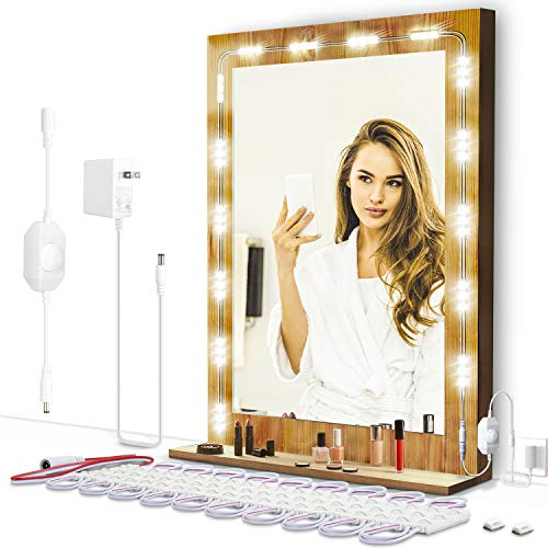 Led Vanity Mirror Lights Kit, ViLSOM Dimmable 6000K 10ft Ultra Bright Light Strip for Vanity Makeup Table, Bathroom Mirror with Dimmer Switch and Power Supply, Mirror not Included