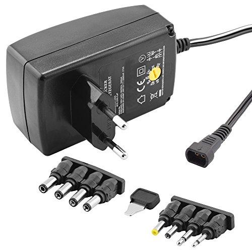 Stabilisiertes Universal Netzteil Ladegerät mit verschiedenen Adaptern für Geräte bis zu 2250mA, Eingang 230V, Ausgang 3 4,5 6 7,5 9 12 V DC, Schwarz