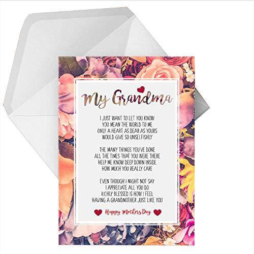 Grußkarte mit Gedicht für Oma/Oma, personalisierbar, A5