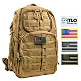 TLO TacPack24 - Tactical Rush Backpack with MOLLE System, Hydration Pocket, 40L Storage (Olive Green) Plus Bonus Pack of Four SWAPPABLE Velcro Patches and Three Flags
