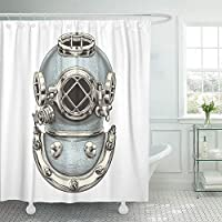 Emvency Shower Curtain Waterproof Adjustable Polyester Fabric Dive Vintage Diving Helmet Engraving Diver Scuba History Deep Underwater Sea 72 x 72 Inches Set with Hooks for Bathroom