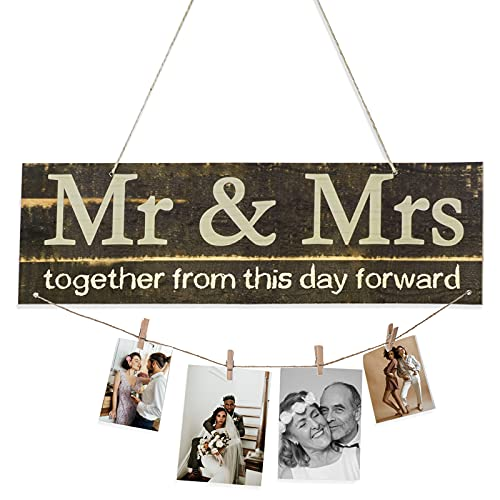 ORNOOU Couples Gifts Photo Holder  Wooden Hanging Photo Display Wedding Gifts for Couple - Together from This Day Forward Hanging Picture Display Board