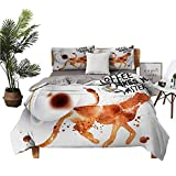 4pcs Bedding Set Bed Sheets Queen Cotton Bed+Sheets+Queen+Set Coffee Makes You Faster Phrase with Espresso Splash Watercolor Art Burnt Sienna Black White Super Soft Fiber W85 xL85