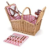Picnic Time Piccadilly 16-Inch Double-Lid Picnic Basket with Service for 2