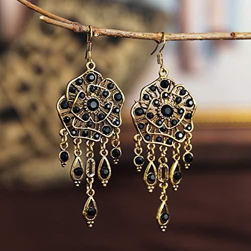 RSTJVB Pendientes de Mujer, Pendientes en Forma de Flor con Textura de Diamante Completo, Pendientes étnicos Retro, Accesorios de Moda,Negro
