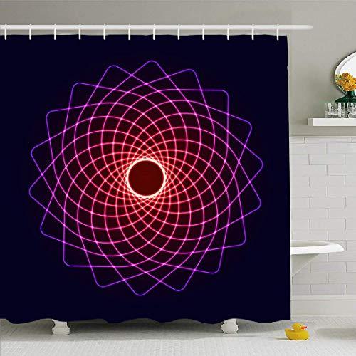 N\A Ahawoso Duschvorhang Set mit Haken Neon Life Glow Cool Symmetrie Erleuchtungselement Geometrie Balance Abstrakte Texturen Zen Mystical Wasserdichtes Polyestergewebe Bad Dekor für Badezimmer