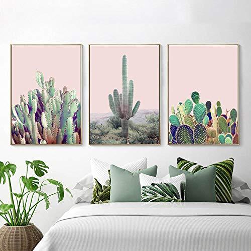 YFYW Cactus drukposter canvas schilderij aan de muur kunst planten de foto's voor woonkamer poster wooncultuur - 50x70cmx3 stuks geen lijst