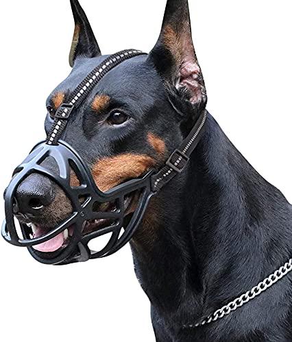 DOPN Bozal para perros, cesta de silicona para perros, bozal para perros, transpirable, cobertura completa del arnés ajustable, diseño Comfort Fit evita que se muerda