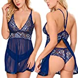 Ababoon Women Lingerie Lace Baby Doll Sexy Outfits Backless Chemise Blue, L Size
