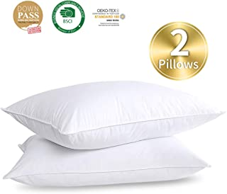 HOMBYS Goose Feather Down Soft Bed Pillows Insert for Sleeping,Queen Size,1100g 37oz Fill Weight Medium Support,Hotel Collection,Hypo-allergenic,100% Cotton Down Proof Cover(White,2 Pack)