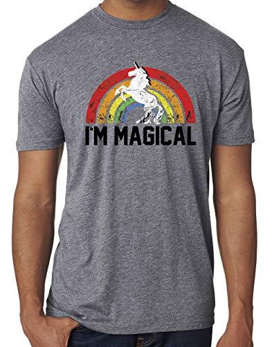 SoRock Men's I'm Magical Rainbow Unicorn Tri Blend Tshirt Large Heather Grey