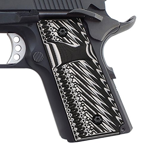 Cool Hand 1911 Compact Slim G10 Grips, Free Screws Included, Big Scoop Magazine Release Cut, 3/16' Thin, Operator Texture