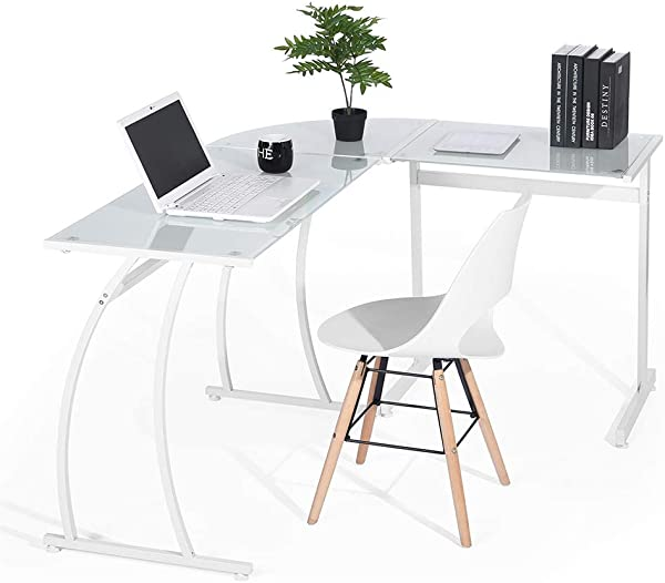 HOMY CASA Computer Desk Modern L Shaped Desk Lapdesk Corner Set With Wood Surface Board Steel Frame PC Latop Study Table Workstation Gaming Desk For Home Office