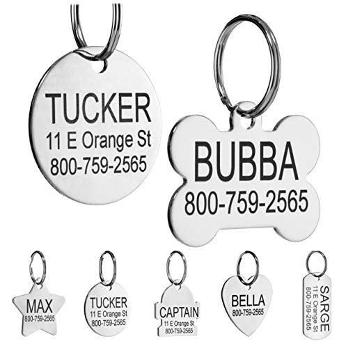 Providence Engraving Custom Engraved Stainless Steel Pet ID Tags - Personalized Front and Back Identification, for Large or Small Cats and Dogs, Bone, Small