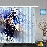 FAKAINU Imperméable Rideau de Douche,Sport Américain Football Aquarelle Jersey Football Casque Joueur Tenant Match De Rugby,Baignoire Rideaux Accessoires de Salle de Bain 180 x 180 cm