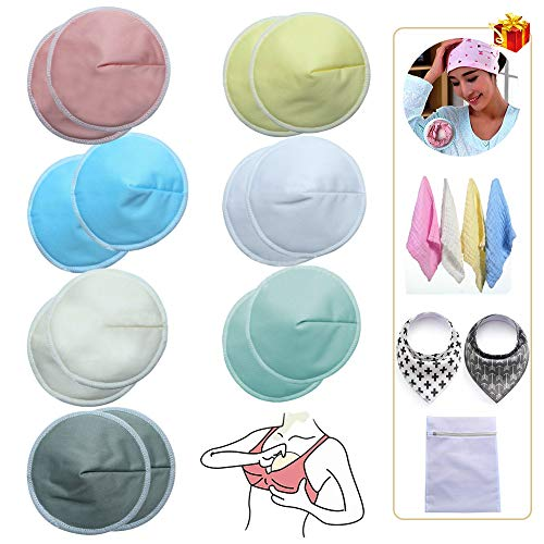 14 Washable Nursing Pads Bamboo Nursing Breast Pads for Breastfeeding Reusable Breastfeeding Nipplecovers Leak-Proof Nipple Pads