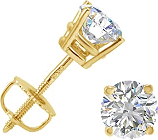 AGS Certified 1ct TW Round Fine (E-F Color, I1-I2 Clarity) Diamond Solitaire Stud Earrings in 14K Gold with Screw Backs