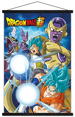 Trends International Dragon Ball: Super - Return Wall Poster with Wooden Magnetic Frame, 22.375' x 34', Print and Black Hanger Bundle