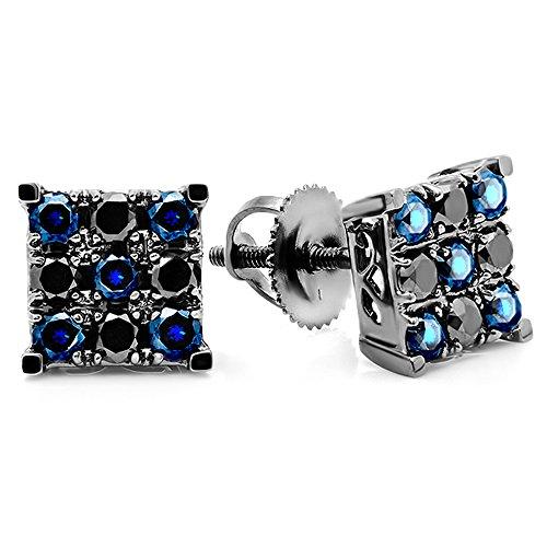 Dazzlingrock Collection Pendientes redondos con diamantes y zafiros azules para hombre, forma cuadrada, chapado en rodio negro, oro blanco de 14 quilates