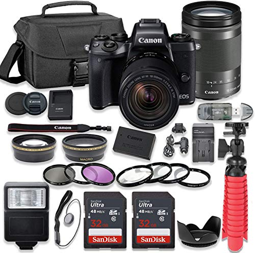 Canon EOS M5 Mirrorless Digital Camera Bundle with Canon EF-M 18-150mm f/3.5-6.3 is STM Lens, 2pc Sandisk 32GB Cards and Accessory Kit