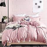 Delien - Set di biancheria da letto in microfibra con romantico design a balze, 3 pezzi (1 copripiumino 200 x 200 cm + 2 federe 80 x 80 cm), 4 stagioni, colore: rosa