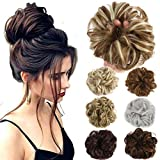 Hair Bun Extensions Wavy Curly Messy Donut Chignons Hair Piece Wig Hairpiece (Natural Black-N, onesize)