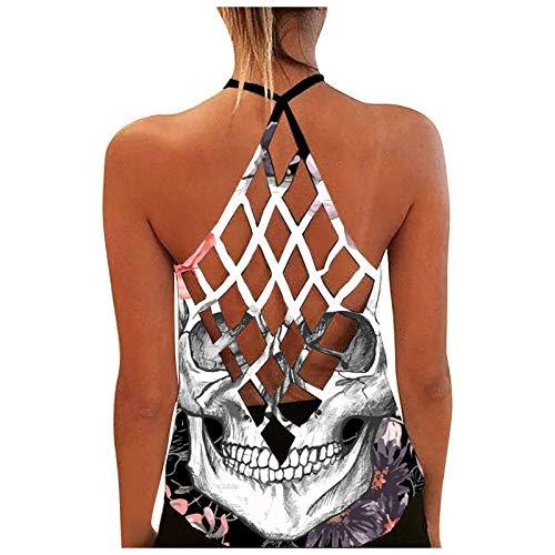 Damen Sexy Bluse Weste Mode Tanktop, personalisiertes, bedrucktes, sexy, rückenfreies Tanktop für Damen,Sporttop Yoga Rückenfrei Oberteil Laufen Fitness Funktions Shirt Tank Tops(1-Weiß:XL)