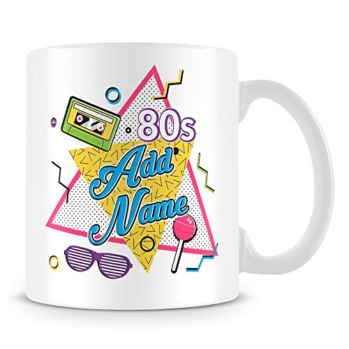 Personalise 80s Mug. Design printed on both sides. Ideal gift for anyone born in the 1980s