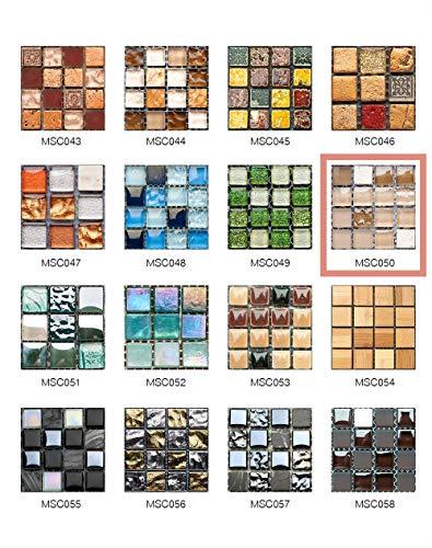 50 Piezas de Pegatinas de Azulejos Estilo Retro Mosaico Adhesivo Pegatinas Autoadhesivas Para Azulejos DIY Baño Cocina Pegatinas de Decoración Adhesivos de Pared (10*10CM*50Piezas, MSCO50)