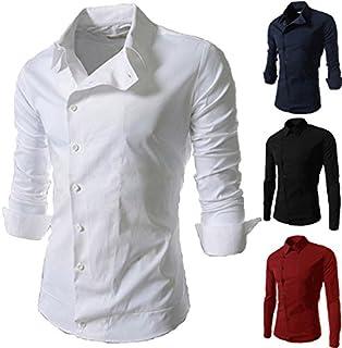 (SGL Collection) ドレスシャツ メンズ 長袖 斜めボタン ユニホーム デザイン レギュラーカラー アシンメトリ スリムフィット カットソー 4色選択 S ~ XXL 【日本向けサイズ仕様】