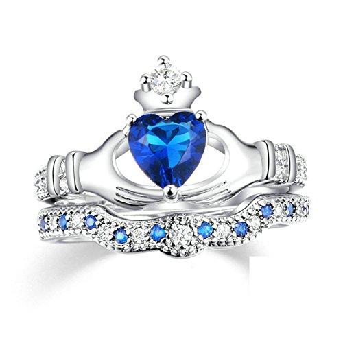Beydodo Damen-Ring Versilbert für Frauen Stapelring Claddagh Herz Zirkonia Silber Eherring Verlobungsringe Freundschaftsring Größe 60 (19.1)