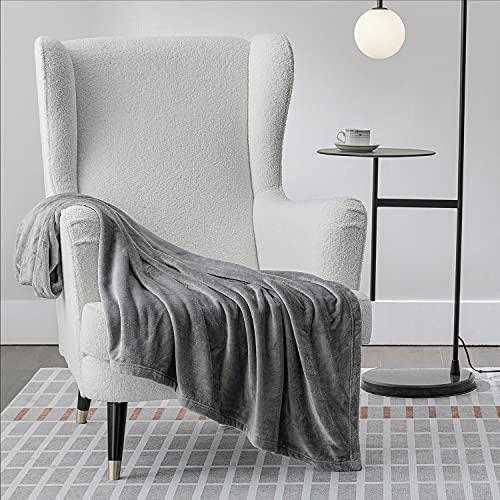Bedsure Coperta Pile Matrimoniale 150x200cm - Plaid Divano Super Morbido, Coperta Flanella Letto Matrimoniale Grigio