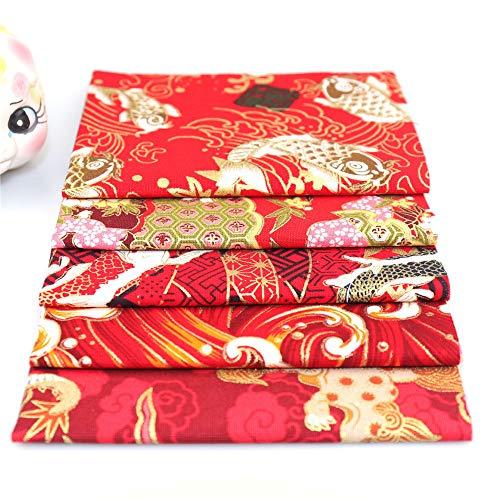 Nicole Knupfer Juego de 5 telas de algodón para patchwork, por metros, tela para coser, estilo japonés, flores y restos de tela, paquete de tela, paño de algodón DIY (E,48 x 50 cm)