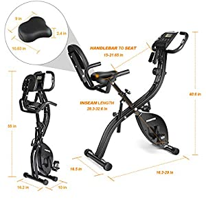 Folding Exercise Bike Indoor Cycling Bike Magnetic Resistance Upright & Recumbent Bikes 3 in 1 with Arm Bands Pulse Monitor for Adults Home Office Cardio Workout - Foldable Black