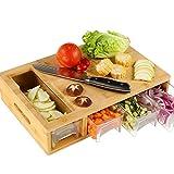 HOMECHO Tabla de Cortar con 4 Cajónes y 4 Ralladores 1 Cepillo Tabla de Cocina Grande de Bambú 40...