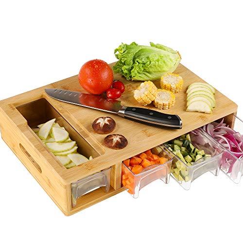 HOMECHO Schneidebrett Bambus mit 4 ausziehbaren Auffangschalen, 4 in 1 Gemüseschneider, Hackbretter Küchenbrett Holz Schneidebretter Set geeignet für Spülmaschine, Links- und Rechtshänder, 40×27×8.8cm