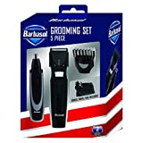 Barbasol Battery Powered 5 Piece Electric Grooming Set with Stainless Steel Blades, Body and Beard Trimmer, Ear and Nose Trimmer, Built in Adjustable Position Guides and Travel Bag