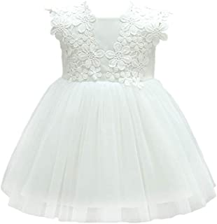 KRUIHAN Girl Newborn Birthday Wedding Dresses Lace Gowns Christening Princess Skirt