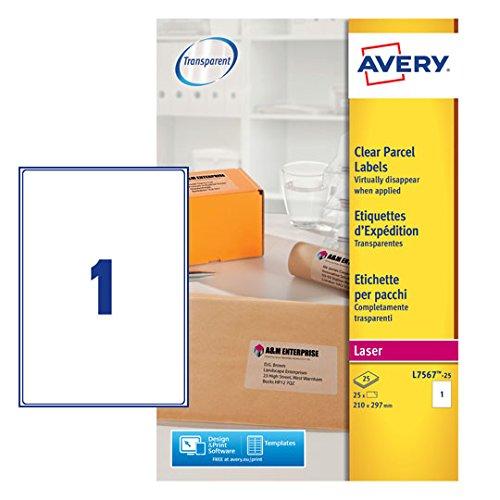Avery J7567-25 Adressetiketten für Laserdrucker (1 Etikett pro Blatt, 210 x 297 mm) 25 Stück transparent